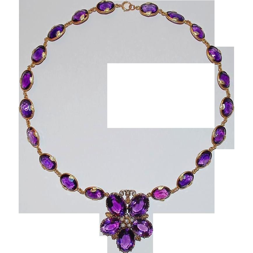 Antique Amethyst Gold Necklace Flower from raritetantique ...