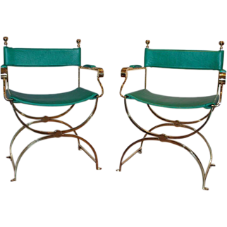 Pair of Vintage Brass Frame Savonarola Armchairs by Valenti