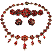Antique Bohemian Garnet Necklace Bracelet Earrings Set