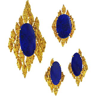 Vintage Modernist 14K Gold Lapis Ring Pendant Earrings Set
