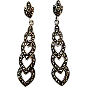 Vintage art deco sterling silver marcasite earrings