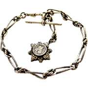 SOLD Victorian sterling silver albertina bracelet with  fob