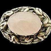 Lovely arts and crafts vintage sterling and rose quartz brooch