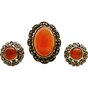 REDUCED Sterling silver carnelian and marcasite demi parure ring and stud earrings