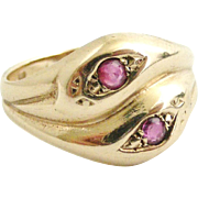 REDUCED Vintage 9k gold and ruby double snake ring