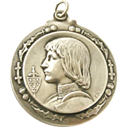 French Joan of Arc slide mirror locket by Emile Dropsy.