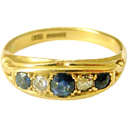 Victorian revival 18k gold sapphire and diamond ring