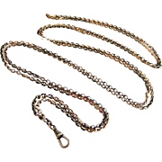 Art deco French 800-900 silver rose gold vermeil lorgnette chain