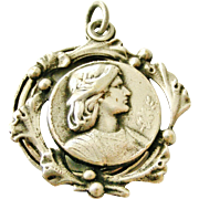 Vintage French art nouveau Joan of Arc slide locket