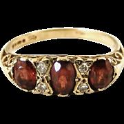 Vintage 9k gold garnet diamond ring