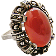 French art deco 800-900 silver cocktail ring with carnelian and marcasites