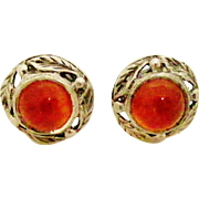 Pretty sterling silver arts and crafts carnelian stud earrings