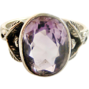 Sold to CF English arts and crafts sterling silver and amethyst ring.