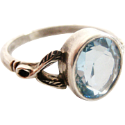 SALE PENDING English arts and crafts vintage sterling silver blue topaz ring.