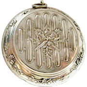 Antique French silver poudrier powder compact for chatelaine
