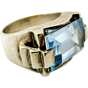 Stunning French silver and synthetic blue zircon art deco tank ring.