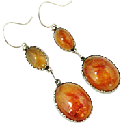 Antique Edwardian sterling silver and amber color agate earrings