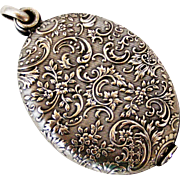 French silver plated slide mirror locket
