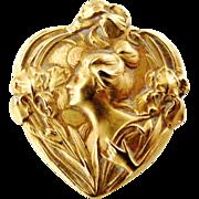 Sweet little art nouveau French 18k gold fill FIX lady brooch