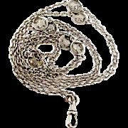 SALE PENDING Antique French 800-900 silver art nouveau long guard chain with little Athena med