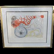 "Salvador Dali ~ Signed Lithograph ~ ""Elijah and the Chariot"""