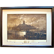 """Original Signed Etching ~ 1887 ~ George McCord & John Henry Hill with Longfellow's Poem """""""