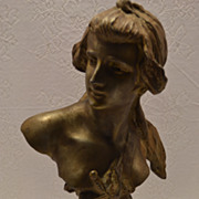 """SOLD Antique Art Nouveau Cast Metal Bust of """"MEDEE"""" by P Rigual C 1898"""