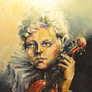 "REDUCED Vintage Contemporary Impressionist Oil and Pastel on Canvas Painting Entitled ""Vi"