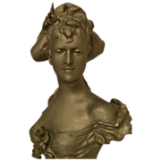 Fine Antique French Art Nouveau Metal Bust of Parisian Lady by A J Foretay C. 1880-1900