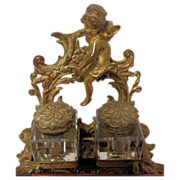 SOLD Beautiful Rare Antique French Dore or Ormolu Cherub Bronze Inkwell C 1850-1890