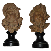 REDUCED Fine Antique Set of French Terracotta/Plaster Statues of Boy & Girl by E.Guillemin ...