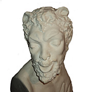 Huge Extremely Rare Vintage Chicago Architectural Bust of a Satyr by Leon Hermant C. 1924
