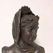 SOLD Superb Antique French Art Nouveau Maiden Bust by Henri Levasseur C. 1880-1900 - Red Tag S