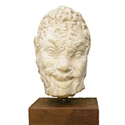 Fine Vintage Plaster Bust of Mythological Satyr on Wooden Base