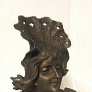 REDUCED Great Antique Art Nouveau Bust of L'ETE by Franz Iffland C. 1880-1910