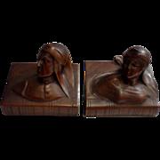 Beautiful Vintage Dark Bronze Set of Dante & Beatrice Bookends C. 1900-1930