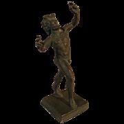 SOLD Wonderful Antique Bronze Statue of The Dancing Faun of Pompeii C, 1880-1920