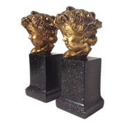 Rare Vintage BORGHESE Putti Cherub Gold Gilded Bookends