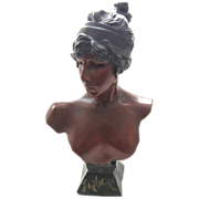 Superb Large Antique Art Nouveau Bust Of TANAGRA by E. Villanis C. 1880-1900