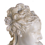 SOLD Huge Antique French Art Nouveau Maiden Store Front Display Bust C. 1880 - 1900
