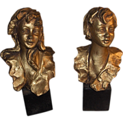 """Wonderful Exquisite Vintage Set of Italian Sculptures Boy and Girl Signed """"Paoletti"""""""