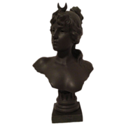 SOLD Superb Rare Large French Art Nouveau Bust of DIANA By E Villanis Signed C. 1890-1910