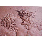 Superb Antique French Terracotta Wall Plaque of Cupid Kissing Psyche C. 1900
