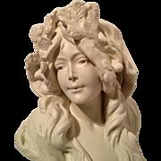 REDUCED Superb Art Nouveau French Bust of L'HIVER C. 1880-1900