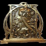 SOLD Exquisite Antique Art Nouveau Alphonse Mucha Style Maiden Book-Rack