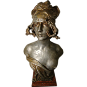 """REDUCED Large Beautiful Art Nouveau Period Bust of Maiden Entitled """"SILVIA"""" by Anton"""