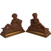 SOLD Exquisite Large Vintage Set of Recumbent Cherub or Putti Terracotta Statues on Gold Gilt