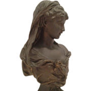 SOLD Superb Antique Bronze French Bust of Classical or Neo-Classical Maiden C. 1850-1890