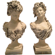 SOLD Magnificent Antique Set of Two French Portrait Busts of Ladies on Tapered Plinths and Mar
