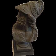 REDUCED Antique Victorian Classical Bronzed Bust of Greek Mythological Warrior AJAX C. 1890